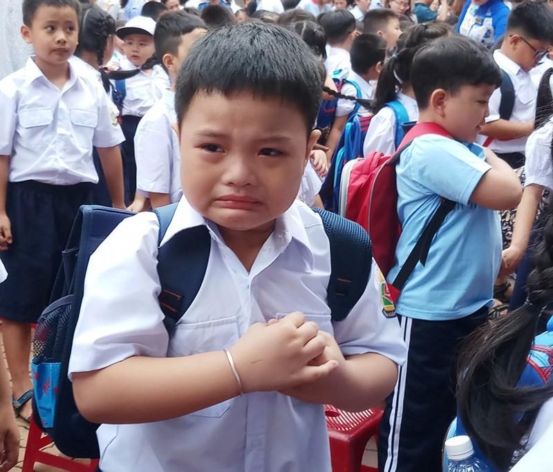 Học sinh lớp 1 mếu máo trong ngày đầu tựu trường - Ảnh 1.