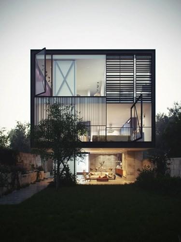Ngôi nhà hai tầng thiết kế bằng kính ấn tượng - Ảnh 1.
