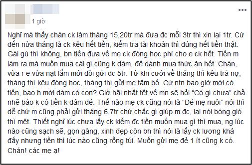 Luong chong 20 trieu/thang, vo van so thieu hut khong dam sinh con, nghe xong chuyen dan tinh moi vo le vi sao