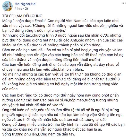 Đọc xong tâm thư Hồ Ngọc Hà gửi đến antifan, cảm thấy cần mở gấp lớp soạn thảo văn bản đúng chính tả cho cô - Ảnh 2.