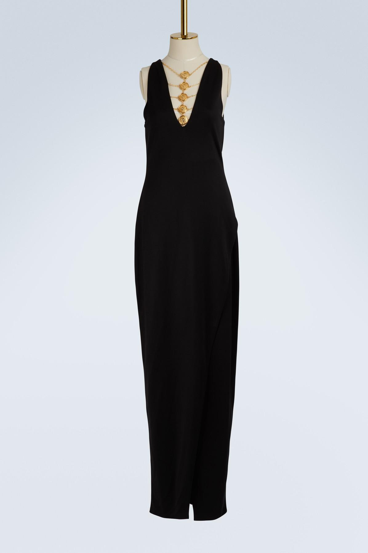 balmain-noir-c0100-coin-jewel-maxi-dress