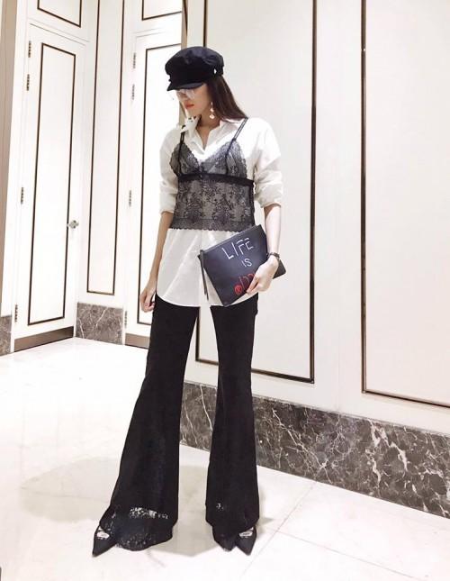 Lan Khuê chọn nhầm áo lót khi diện phong cách 'nội y ngoài trang phục' - Ảnh 1.