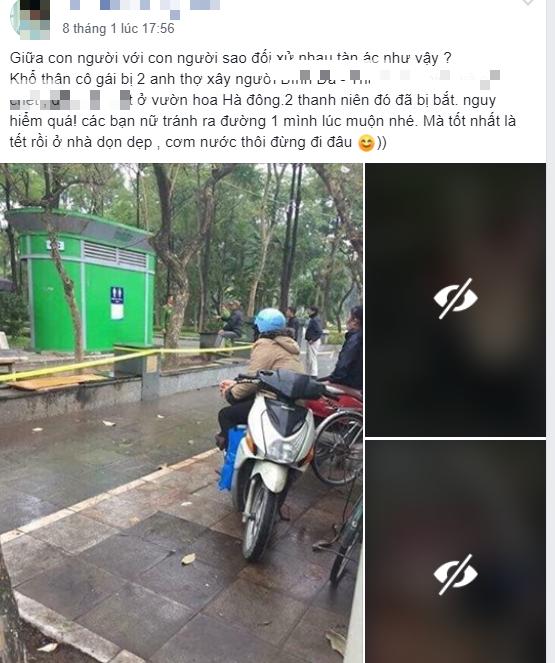 Thực hư thông tin bắt 2 nam thợ xây liên quan đến cái chết của cô gái trong vườn hoa Hà Nội - Ảnh 2.
