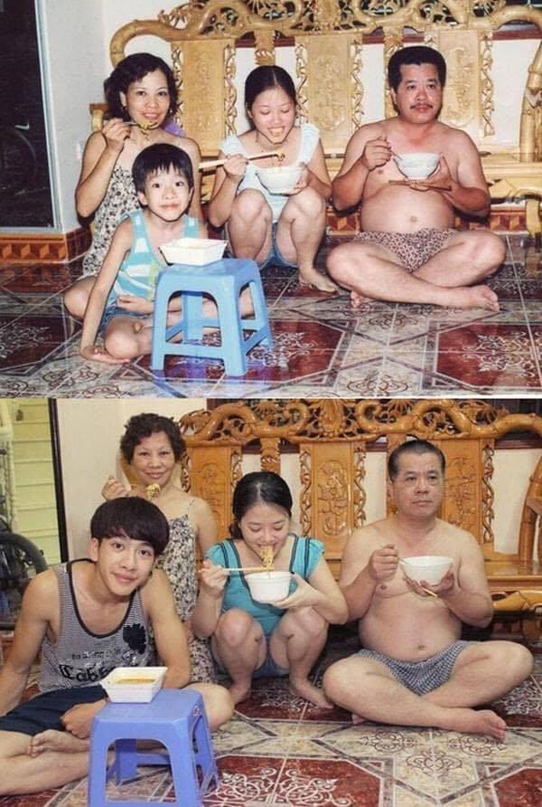 Được chia sẻ lại sau nhiều năm, bức ảnh gia đình cùng ăn mì này đã khiến bao trái tim thổn thức ngày cận Tết - Ảnh 1.