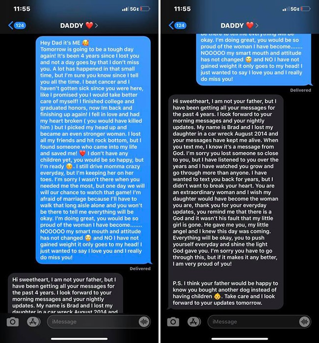 Nhắn tin mỗi ngày cho người bố đã khuất trong suốt 4 năm, cô gái giật mình khi nhận được hồi âm - Ảnh 1.