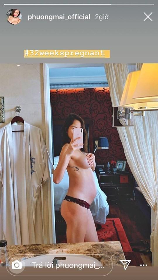 Táo bạo như Phương Mai, cởi áo khoe bụng bầu 8 tháng đẹp không tì vết - Ảnh 1.