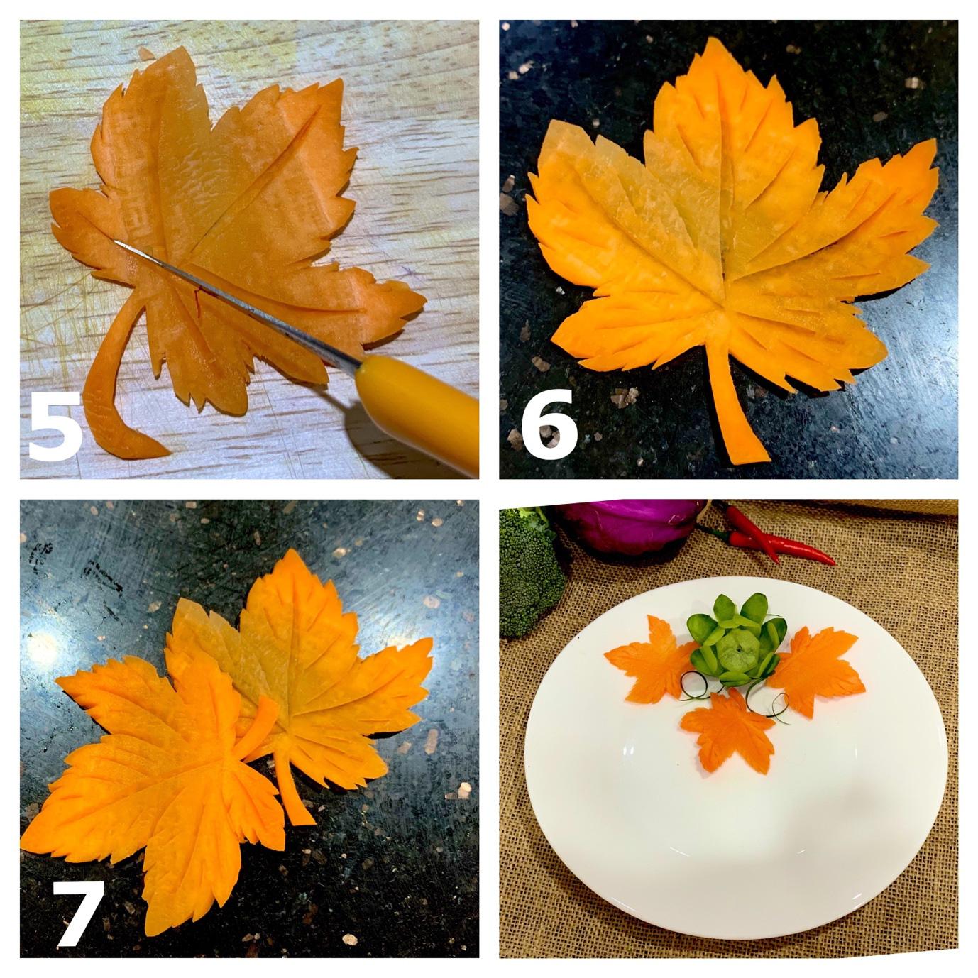 Việt Nam không có lá phong, học ngay cách cắt tỉa cà rốt thành lá phong trang trí đĩa ăn thật lãng mạn - Ảnh 4.