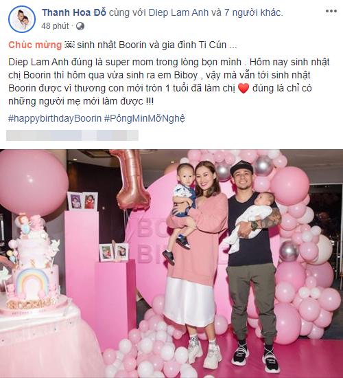 Mới sinh quý tử được đúng 1 ngày, Diệp Lâm Anh đã ăn diện lộng lẫy, mở tiệc sinh nhật con gái đầu khiến ai cũng ngạc nhiên - Ảnh 2.