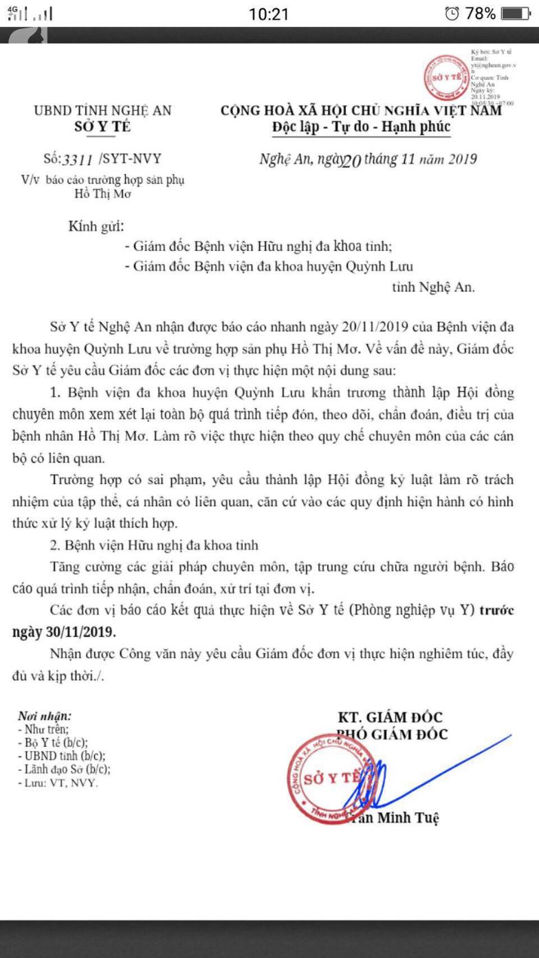 Vụ thai nhi tử vong, sản phụ nguy kịch ở Nghệ An: Sản phụ tiên lượng xấu - Ảnh 1.