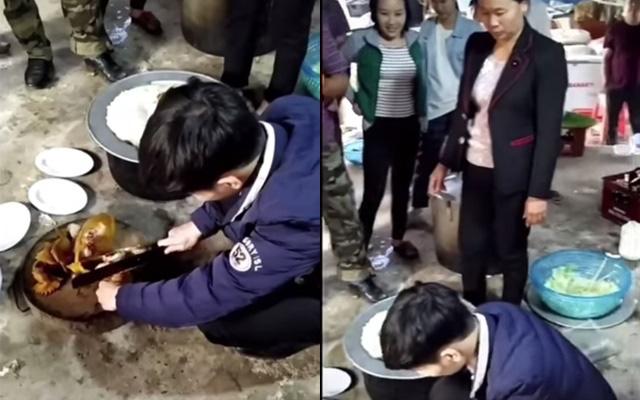 Chàng rể mới lần đầu trổ tài chặt thịt gà trước sự chứng kiến của bố mẹ và toàn thể anh chị em nhà vợ - Ảnh 2.