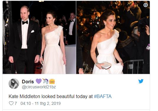 Một người dùng mạng dành lời khen ngợi cho Công nương Kate.