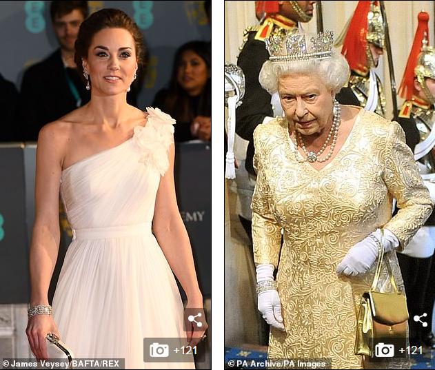 Công nương Kate đeo vòng tay lấp lánh của Nữ hoàng Anh.