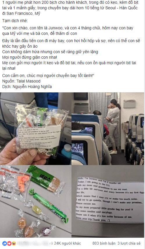 Cho con 4 tháng tuổi đi máy bay, bà mẹ gửi kẹo và bịt tai cho 200 hành khách nhưng đáng chú ý là tờ giấy đính kèm - Ảnh 1.
