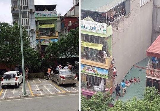 Hà Nội: Cháy trường mầm non 4 tầng, các cháu nhỏ trèo qua mái nhà, leo thang để di chuyển - Ảnh 1.