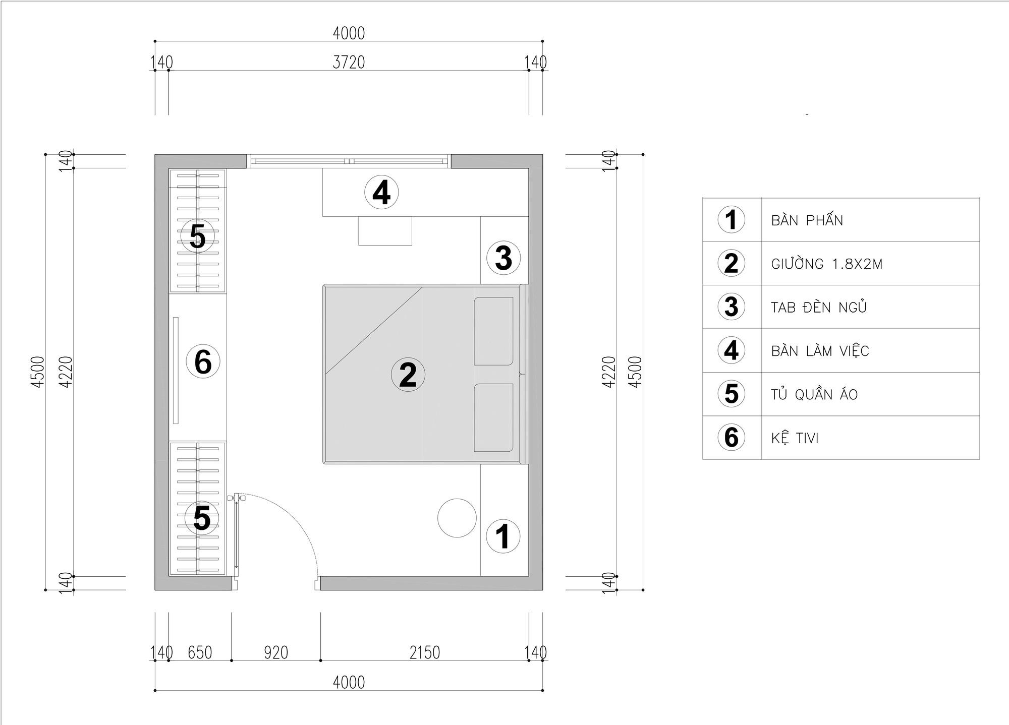 Tư vấn thiết kế phòng ngủ dành cho người chuẩn bị kết hôn rộng 4x4.5m - Ảnh 2.