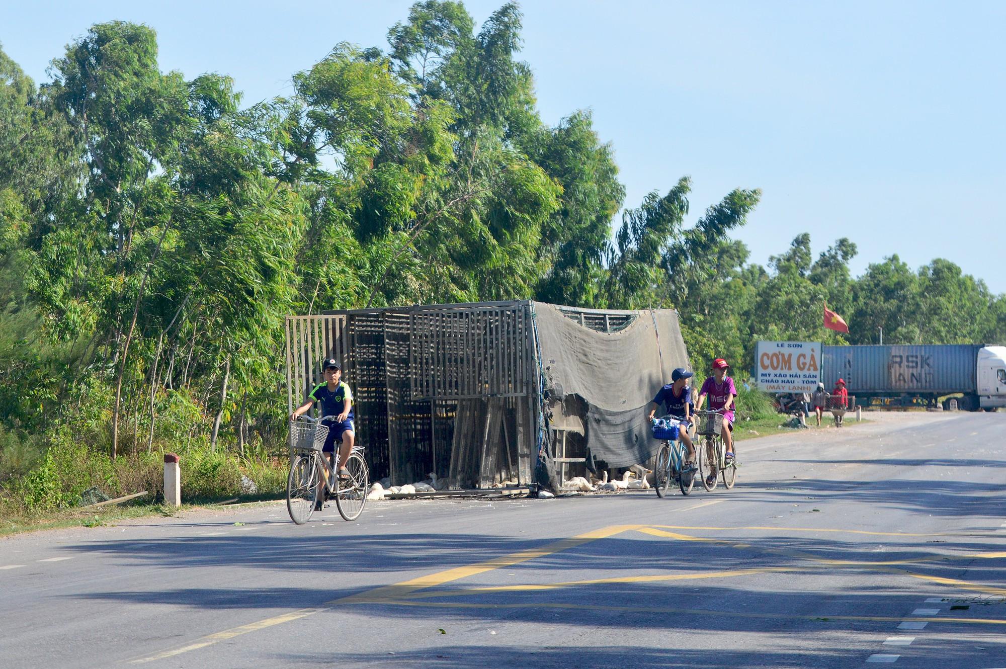 Xe tải gặp nạn, hàng trăm con vịt bị dân hôi của buộc công an xuống đường tìm vịt trả chủ xe  - Ảnh 1.