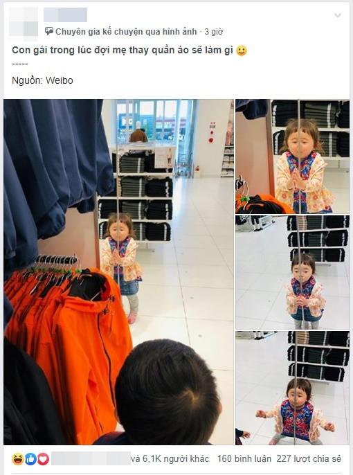Chờ mẹ thay đồ khi đi shopping, cô bé vô tình nổi như cồn trên MXH vì trò nghịch ngợm của mình - Ảnh 1.