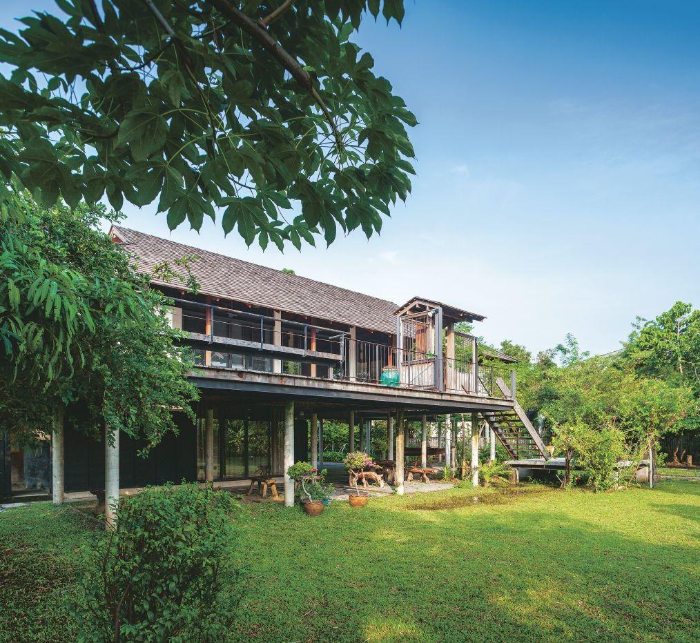 Ngôi nhà gỗ bất chấp nắng nóng, chỉ có gió mát và ánh sáng ngập tràn giữa rừng cây xanh - Ảnh 2.