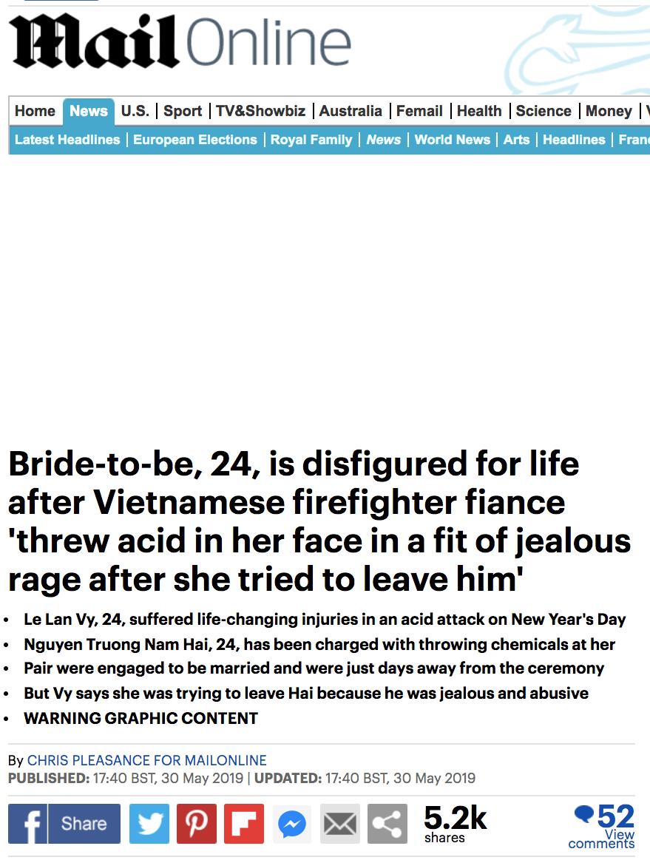 Dân mạng nước ngoài bày tỏ sự thương cảm với cô gái Việt Nam bị chồng sắp cưới tạt axit đến biến dạng khuôn mặt - Ảnh 2.