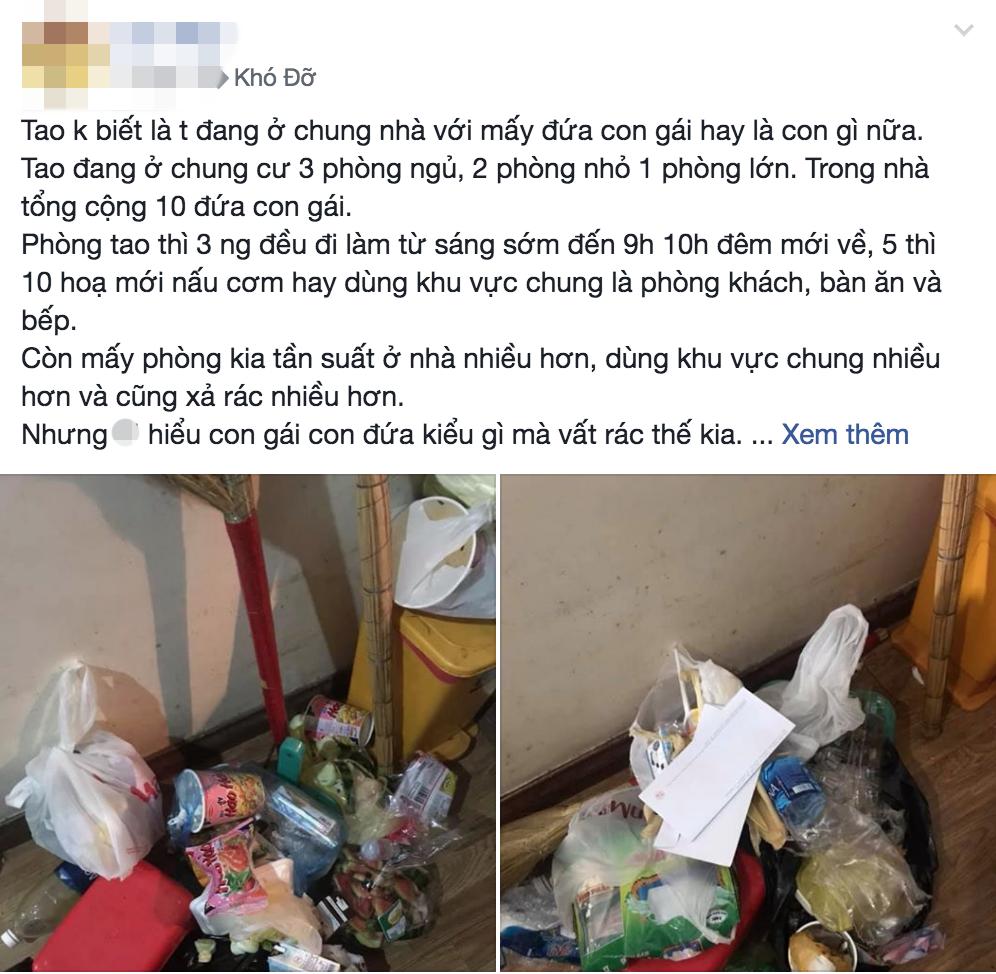 Thêm gái xinh ở bẩn khiến dân mạng ngán ngẩm: Nhắc 3 lần vẫn vứt rác giữa nhà, lơ đẹp luôn cả tiền sinh hoạt - Ảnh 1.