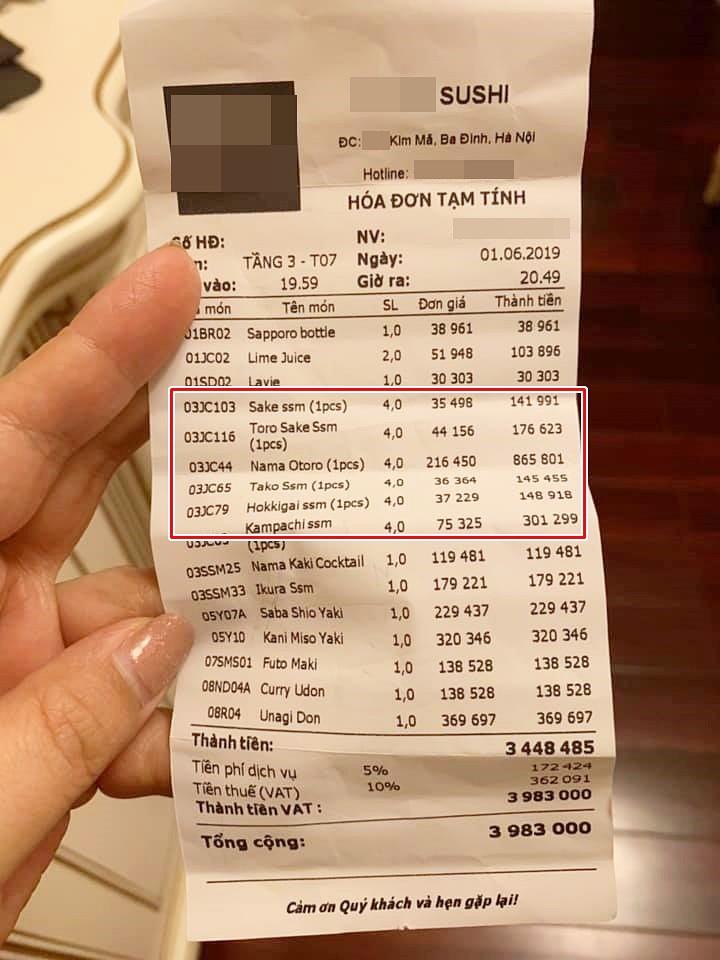 """Ăn sushi nổi tiếng phố Kim Mã, team công sở giật mình vì bill 12 triệu, riêng tiền trà gần 1 triệu vì mắc """"bẫy"""" nhà hàng - Ảnh 3."""