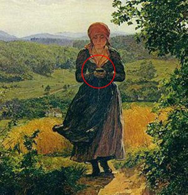 Sự thật về bức tranh cô gái cắm mặt vào điện thoại vào năm 1850 gây xôn xao: Có hay không giả thiết xuyên không? - Ảnh 2.