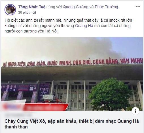 Liveshow Quang Hà hủy bỏ vì cháy lớn, Xuân Lan thương xót, Lưu Thiên Hương bàng hoàng chia sẻ - Ảnh 2.