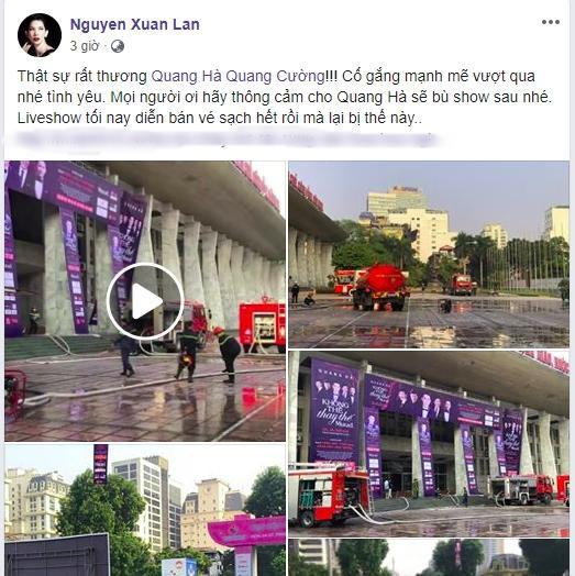 Liveshow Quang Hà hủy bỏ vì cháy lớn, Xuân Lan thương xót, Lưu Thiên Hương bàng hoàng chia sẻ - Ảnh 3.