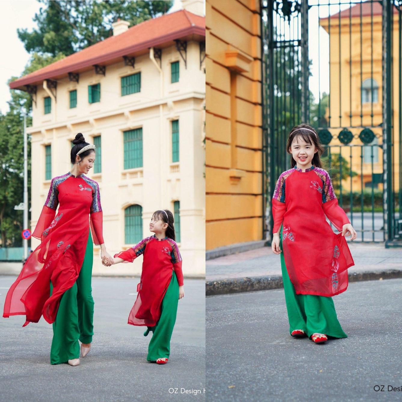 Tan chảy với bộ sưu tập áo dài mẹ và bé xúng xính du xuân - Ảnh 9.