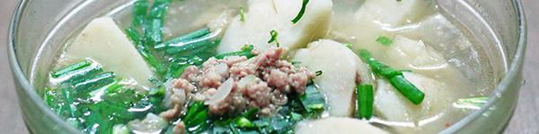 Canh khoai sọ nấu thịt băm giản dị ngon cơm