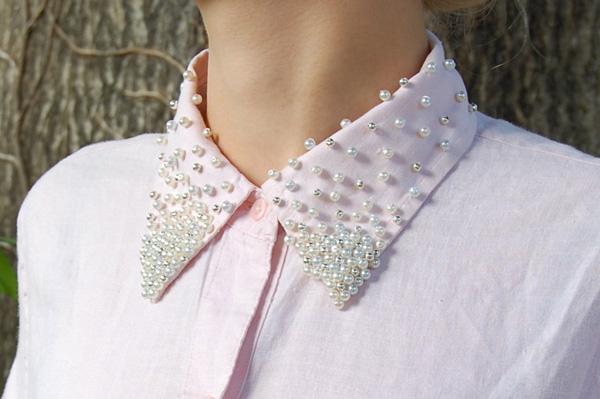 Trang trí cổ áo đẹp long lanh với cườm