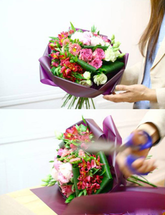 Thêm một cách bó hoa tròn đơn giản dễ thương