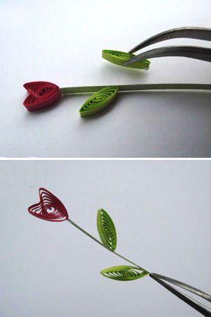 Bó hoa giấy xoắn hình trái tim đáng yêu
