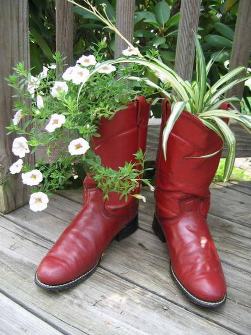 shoescontainergarden22 0e114 Có tới 1001 cách tận dụng giày cũ để trồng hoa trong vườn