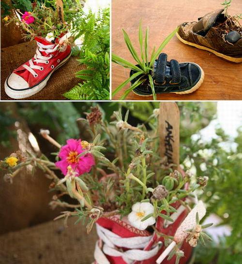 shoescontainergarden45 cc408 Có tới 1001 cách tận dụng giày cũ để trồng hoa trong vườn