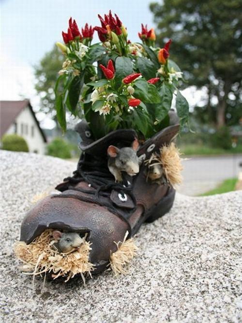 shoescontainergarden56 3f687 Có tới 1001 cách tận dụng giày cũ để trồng hoa trong vườn