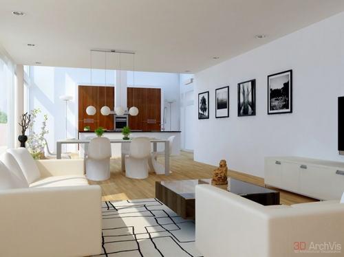 2 713de Những mẫu phòng khách kết hợp với phòng ăn đẹp mắt