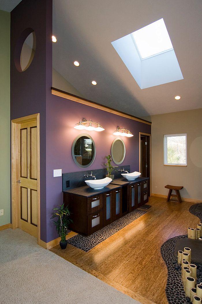Trang tr ph ng t m v i s c t m hi n i v quy n r for Aubergine bathroom ideas