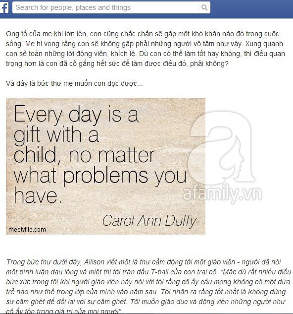 Bức thư cảm động của một người mẹ gửi cậu con trai đặc biệt 1