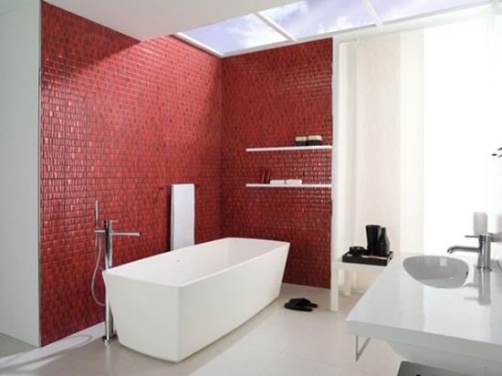 6 cách bài trí phòng tắm ấn tượng với gam màu đỏ 2