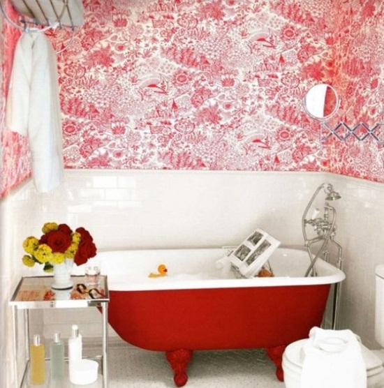 6 cách bài trí phòng tắm ấn tượng với gam màu đỏ 3