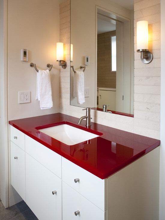 6 cách bài trí phòng tắm ấn tượng với gam màu đỏ 1