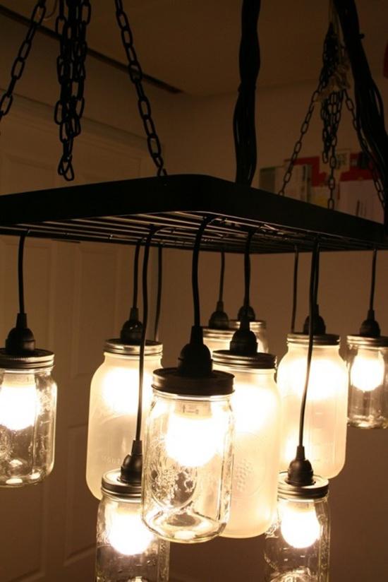 Trang trí nhà đẹp mắt bằng đèn chùm làm từ lọ thủy tinh 4
