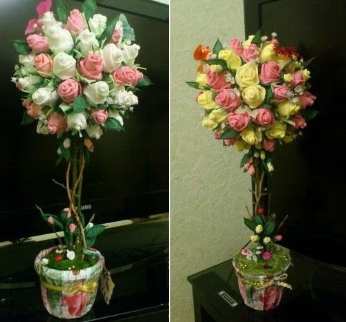 Làm hoa hồng giấy tuyệt đẹp từ giấy ăn 13
