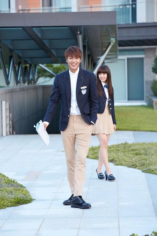 """Lee Min Ho, Park Shin Hye cười tít mắt trên phim trường """"The Heirs"""" 1"""