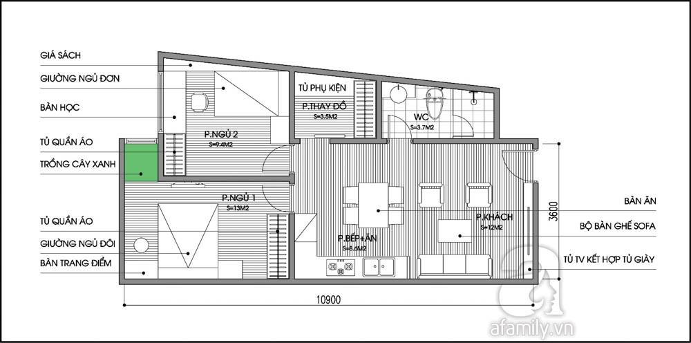 Tư vấn cải tạo cho căn hộ tập thể hình thang 59m² 2