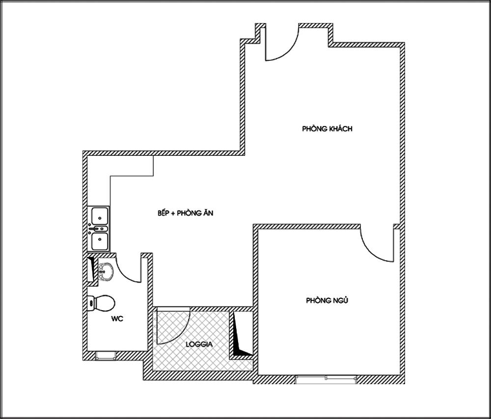Tư vấn cải tạo để căn hộ 50m² có 2 phòng ngủ 1