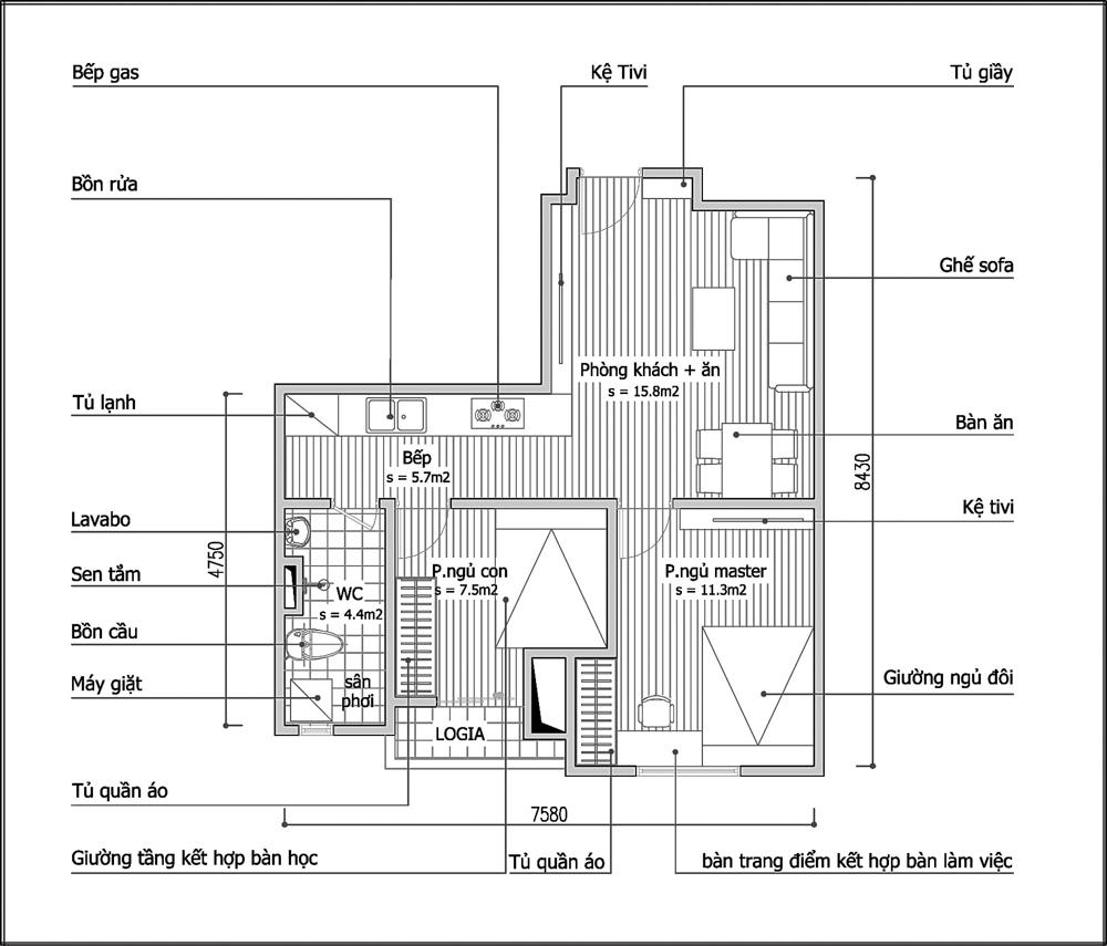 Tư vấn cải tạo để căn hộ 50m² có 2 phòng ngủ 2