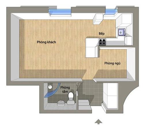 Bài trí nội thất cực chuẩn cho căn hộ 35 mét vuông  1