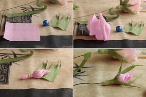 Làm hoa hồng giấy đẹp như hoa thật 10